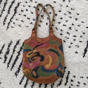 Lucky brand leather patchwork shoulder bag